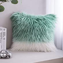 Phantoscope Luxury Series Throw Pillow Covers Faux Fur Mongolian Style Plush Cushion Case for Couch Bed and Chair, Blue and White 20 x 20 inches 50 x 50 cm