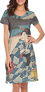 Women's Nightgown Japanese Ukiyo Art Dri Fit Vintage Short Sleeve Sleepwear