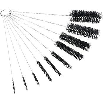 OUNONA ナイロンチューブブラシ ストローセット 洗浄ブラシ ストロー/眼鏡/キーボード/ジュエリークリーニング/試験管ブラシ キッチン注ぎ口洗い 異なる直径を10点セット