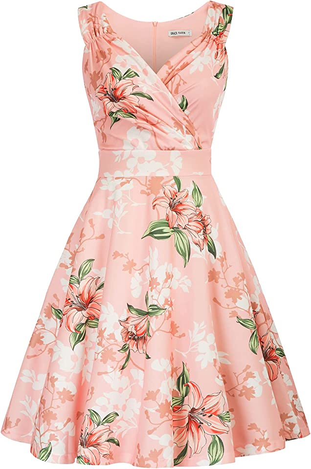 Women 50s Vintage Sleeveless V-Neck A-Line Swing Party Cocktail Dress