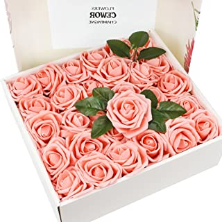 CEWOR 60pcs Artificial Flowers Fake Roses Wedding Bouquet for Wedding Party Baby Shower Home DIY Decorations (Pink)