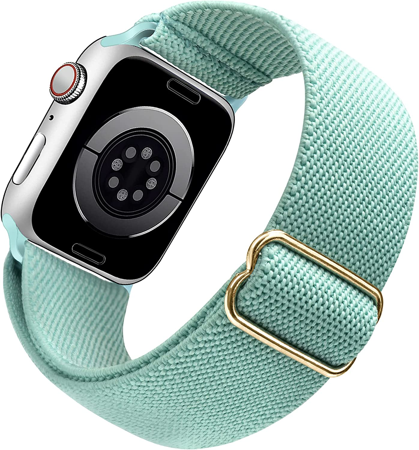 Arae Stretchy Nylon Watch Band Compatible with Apple Watch Band 40mm 38mm Adjustable Elastic Sport Band for iWatch Series 6 5 4 SE 3 2 1 Women Men - Green, 38/40mm