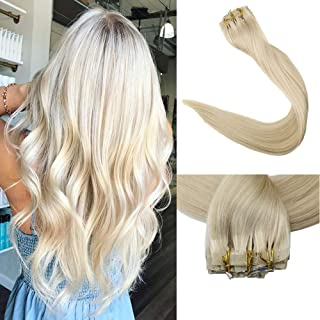 Full Shine 8 Pieces 22 inch 120g Color # 60 Blonde Clip in Human Hair Extensions PU Tape With Clip Remy Brazilian Hair Extensions Silky Straight 100% Human Hair Extensions