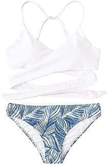 Women's Tropical Print Criss Cross Wrap Two Piece Bikini Set