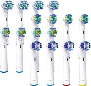 Recambios Cepillo para Oral B Pro Genius y Smart, Cabezales de Cepillo de Dientes, 16Pzs Recambios para Cepillo de Dientes Eléctrico Recargable con Precision, Floss, Cross, Whitening