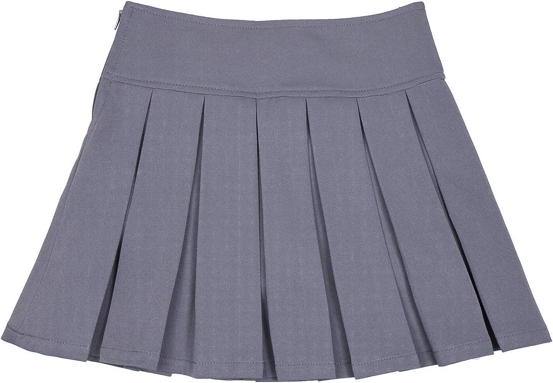 Bienzoe Girls Pleated Hem School Uniform Skirt