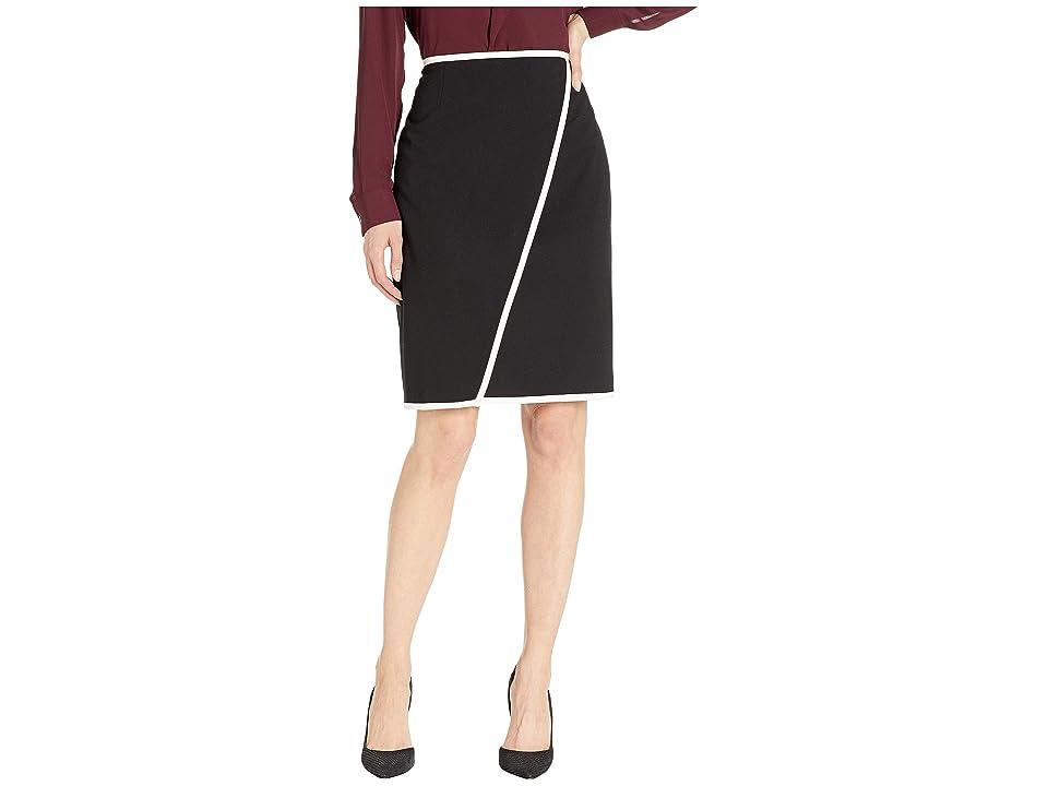 Calvin Klein Lux Piped Skirt (Black/Cream) Women