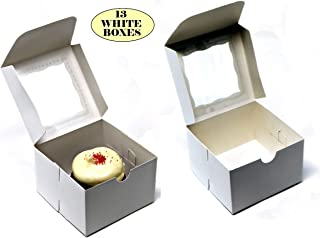 """Bakery Box with Window. Pack of 13 White Cardboard 4"""" x 4"""" x 2.5"""" Baked Goods Display Boxes. Perfect Cupcakes, Cookies, Donuts, Pastries and Cake Take Away Containers"""