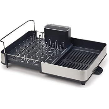 Joseph Joseph Stainless-Steel Extendable Dual Part Dish Rack Non-Scratch and Movable Cutlery Drainer and Drainage Spout, One-size, Gray