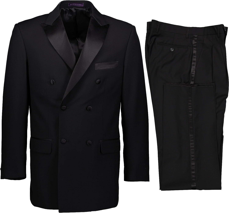 VINCI Men's Premium Solid Double Breasted 6 Button Classic Fit Tuxedo Suit New