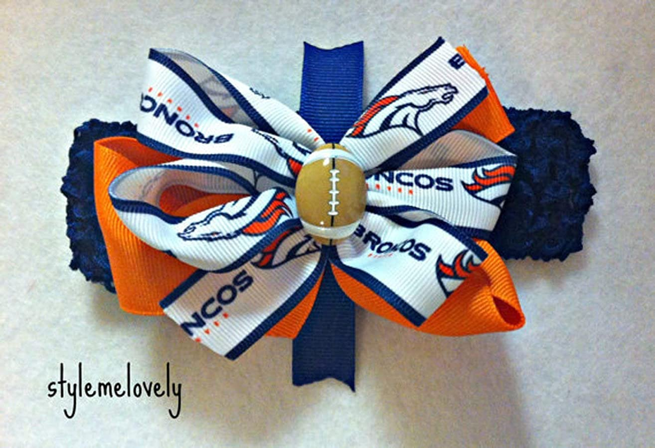 Denver Broncos Baby Girl Boutique Bow Crocheted Headband