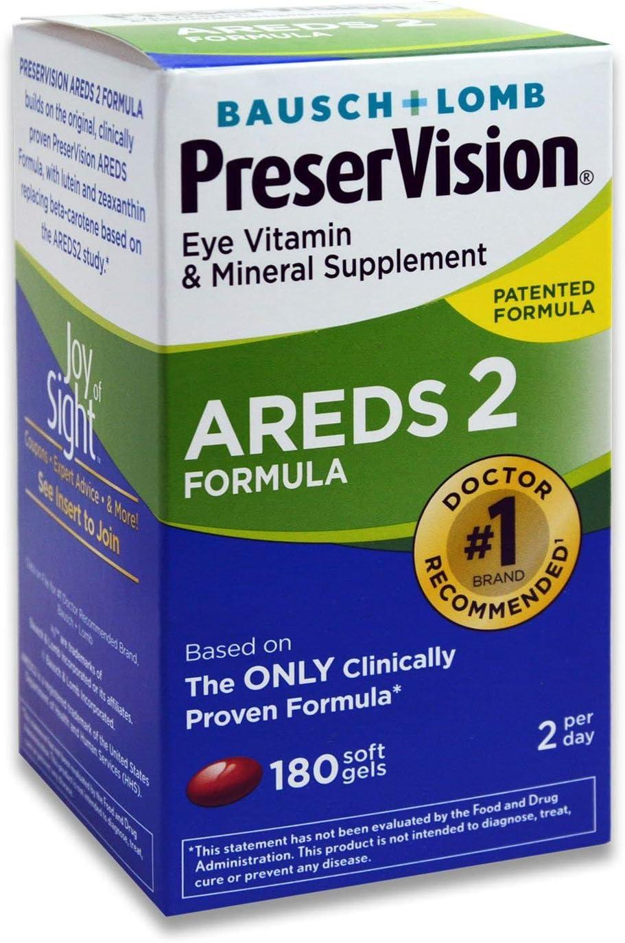 Bausch + Lomb PreserVision AREDS 2 ct. 超美品再入荷品質至上 Formula 180 Supplement 日本全国 送料無料