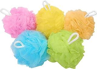Bath Sponges Bath Loofahs Mesh Pouf Shower Wash Ball Large 5 Packs 60g Each Soft Eco-Friendly for Men& Women Cleanse, Smoo...