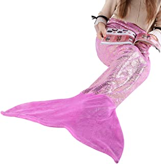LANGRIA Mermaid Blanket Glittering Flannel Mermaid Tail Blankets for Girls Kids Teenagers Adults Super Soft Warm Lightweight in Living Room Bedroom All Seasons (60''X25'', Purple)