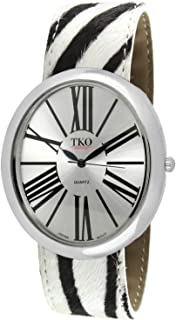TKO Women Oversized Oval Wrist Slap Watch with Roman Numerals & Animal Prints Slip-On Bracelet with Magnetic Closure