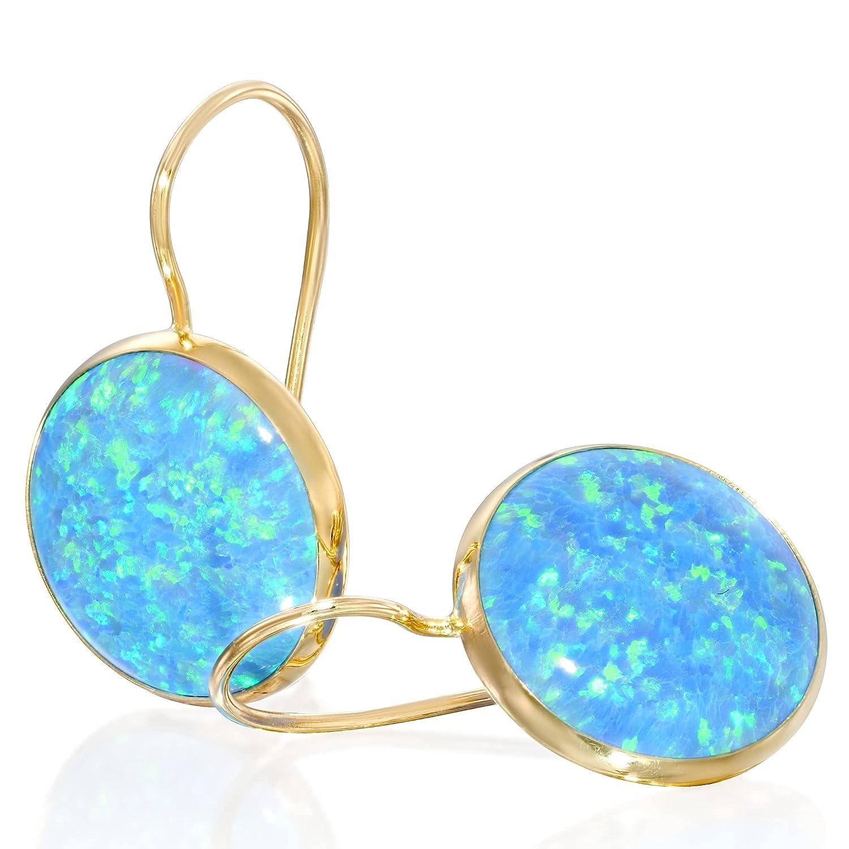 14K Gold Blue Opal Ultra-Cheap Deals Drop Dainty Earrings - 5% OFF Solid Dangle