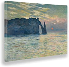 Giallobus - Schilderijen - Claude Monet - Cliff bij zonsopgang - Canvasdoek - 140x100 - Klaar om op te hangen - Moderne sc...