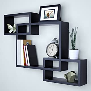 "Ballucci Wooden Interweave Floating Wall Mounted Shelves, Horizontal and Vertical Display Storage Shelf for Living Room Bedroom Entryway Hallway Bathroom, 26"" x 18"", Black"