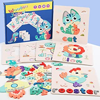 Alphabet Flash Cards, Preschool Activities Wooden Letters Jigsaw Matching Games, Learning Recognition Sight ABC Color Word...