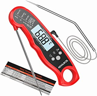 NIXIUKOL Digital Fleischthermometer Grillthermometer Bratenthermometer mit 2 Edelstahlsonden, Sofortiges Auslesen, LCD Display, Magnet, Küchen Thermometer für Grill BBQ Braten Ofen RotSchwarz