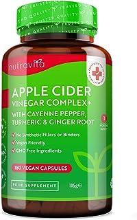 Appelciderazijn – 180 Veganistische Capsules met pure ongefilterde appelciderazijn en toegevoegde Cayennepeper, Kurkuma en...