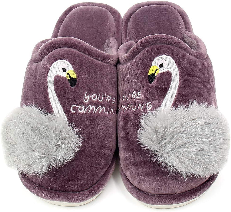 ALOTUS Women's Animal Embroidered Flamingos Memory Foam Warm Slipper Boot Indoor Outdoor Pink