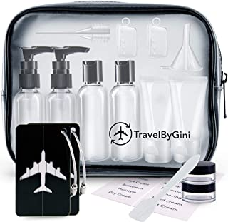TravelByGini Travel Bottles & Luggage Tags TSA Approved Toiletry Bag | 12 Pack Premium Travel Accessories Travel Size Toiletries | Leak Proof Easy To Fill Travel Containers | Travel Kit |