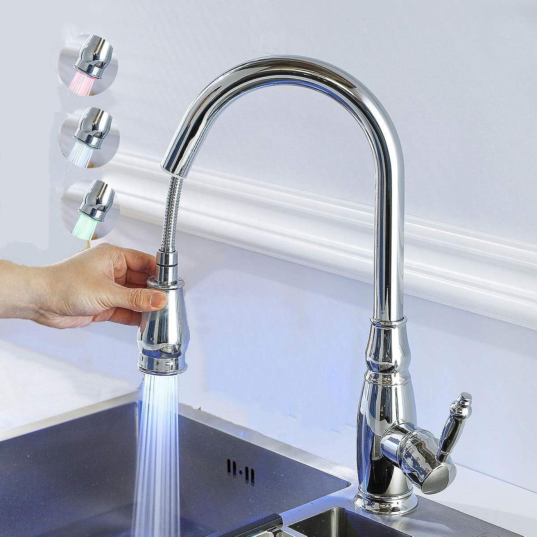 FCS Kitchen Küchenarmatur mit brause ausziehbar Einhebel Wasserhahn für Küche hoch Küche Mischbatterie Retro Messing für Spüle, mit LED-Licht (Farbe   Chrome)