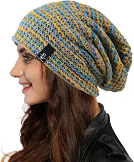 Ruphedy Women Knit Slouchy Beanie Hat Trendy Multicolor Skull Cap for Winter Summer