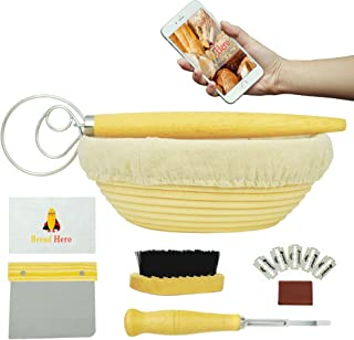 6-Piece Bread Proofing Basket With Every Tool For Beginners - Professional Ebook Explains Each Tool and Includes 10 Recipes - Banneton Bread Proofing Basket, Sourdough Bread Starter, Dough Scraper