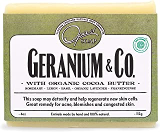 Opas Geranium Soap, 100% Natural, Carcinogen Free, Cold Processed, Fresh Flowery Clean Scent, Raw Organic Cocoa Butter, Made with Natural Essential Oils Lemon, Rosemary, Lavender