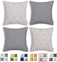 """Home Plus Throw Pillow Covers with Zippered, 4 Pcs Decorative Couch Cushion Protector Cover, Stylish, Breathable, 18""""×18"""""""