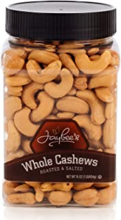 Jaybee's Extra Large Whole Cashews - Roasted And Salted - Great for Gift Giving or As Everyday Snack - Reusable Container - Certified Kosher (16 Ounces)