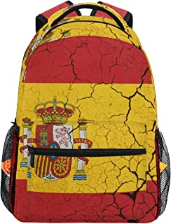 Mochila retro de la bandera de España informal para estudiantes, mochila de viaje, senderismo, camping, portátil