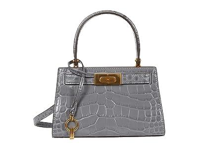 Tory Burch Lee Radziwill Embossed Petite Bag (Zinc) Handbags