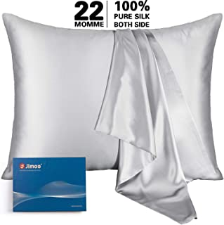 Natural Silk Pillowcase, for Hair and Skin with Hidden Zipper,22 Momme,600 Thread Count 100% Mulberry Silk, Soft Breathable Smooth Both Sided Silk Pillow Cover(Silver Grey, Queen 20''×30'',1pcs)