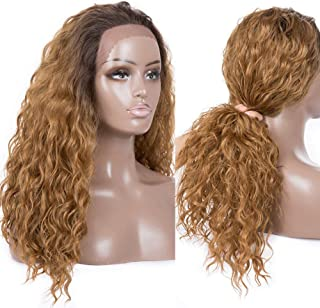 Armmu 24 Inches Long Ombre Blonde Lace Front Wigs for Women 100% Synthetic Water Wave Hair Two Tone Brown Root Wigs (OT4-27)