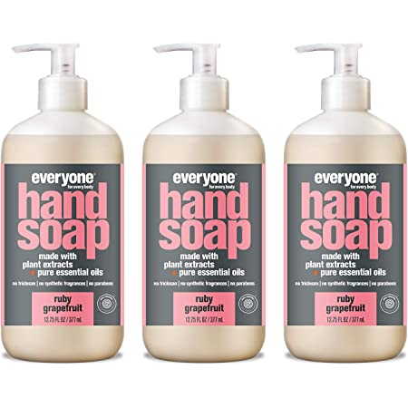 Everyone Liquid Hand Soap, 12.75 Ounce (Pack of 3), Ruby Grapefruit, Plant-Based Cleanser with Pure Essential Oils (Packaging May Vary)