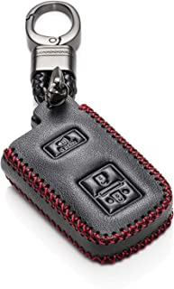 Vitodeco Genuine Leather Keyless Entry Remote Control Smart Key Case Cover with Leather Key Chain for Toyota Land Cruiser, Tacoma, Prius C (3 Buttons, Black/Red)