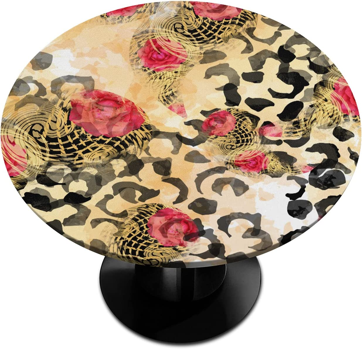 Round Fitted Tablecloth with Under Ranking TOP2 blast sales Elastic Retro Leopa Abstract Edged