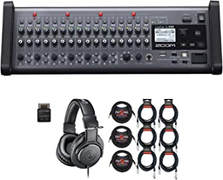 Zoom LiveTrak L-20R Remote Digital Mixer and Recorder with Audio Technica ATH-M20x, 6 - XLR Cables and 3 - Instrument Cables