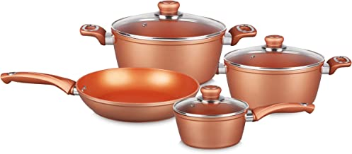 Wilson 7Pcs Aluminium Forged Cookware Set- Golden
