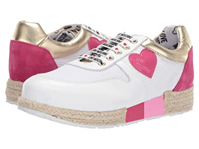 LOVE Moschino Espadrille Sneaker (White/Pink/Gold) Women