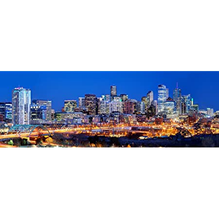 Panorama Of Denver Colorado Skyline At Twilight Photo Photograph Cool Wall Decor Art Print Poster 36x24 Posters Prints