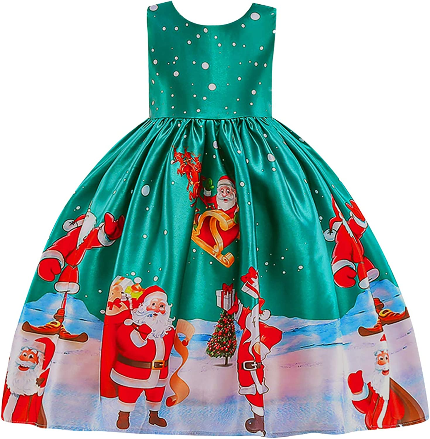 YMING Flower Girl Christmas Santa Party Gown Formal Pageant Princess Bridesmaid Evening Mini Gown