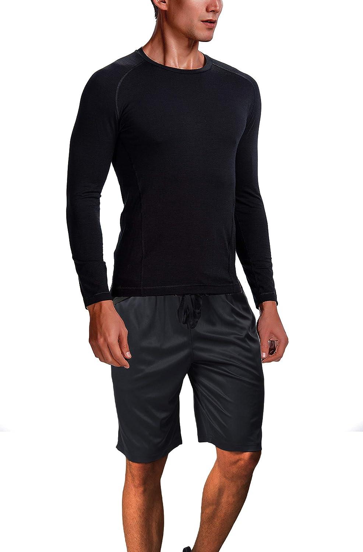 CYZ Men's Light Weight Merino Wool Base Layer Crew Neck Long Sleeve Shirt