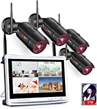 [All-in-One] 1080P Home Security Camera System Wireless with 12 Inch Monitor WiFi Surveillance NVR Kits,8 Channel WiFi Vid...