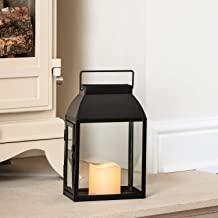 Lights4fun Regular Black Metal Battery Operated LED Flameless Candle Lantern for Indoor Outdoor Use
