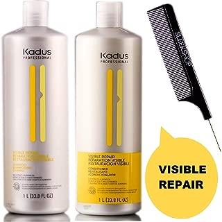 Kadus Professional VISIBLE REPAIR Shampoo & Conditioner DUO SET (w/Sleek Comb) Nourishes Damaged Hair (33.8 oz / 1000 ml - LARGE LITER DUO KIT)