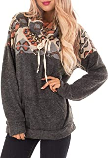 Malaven Women's Cowl Neck Leopard/Plaid/Solid Printed Patchwork Drawstring Pullover Sweatshirt Long Sleeve Tops